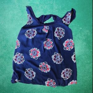 Blue Floral Tank Top With Tie Back